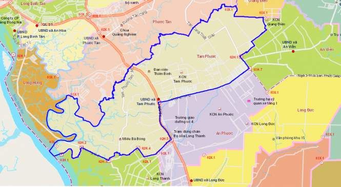 Bản đồ xã Tam Phước Biên Hòa Đồng Nai